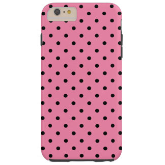 Small Black Polka Dots on hot pink Tough iPhone 6 Plus Case