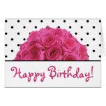 Small Black Polka Dots / Pink Roses Birthday Card