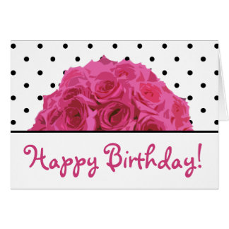 Small Black Polka Dots / Pink Roses Birthday Card