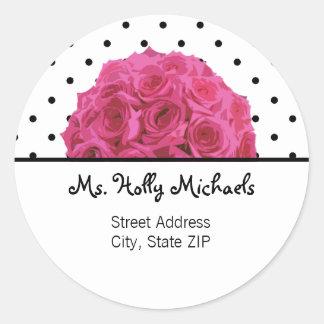 Small Black Polka Dots Rose Address Label Sticker