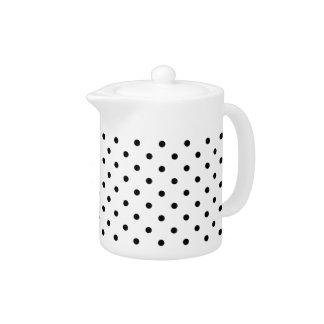 Small Black Polka dots white background Teapot