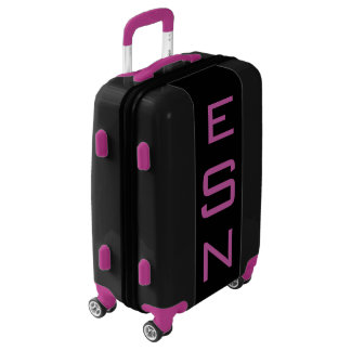 SMALL Black+Purple Personalized Monogram Carry On Luggage