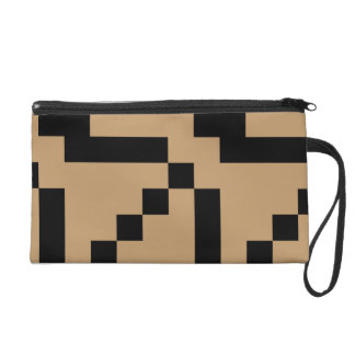 Small Black Squares on Camel Brown Wristlet