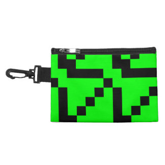 Small Black Squares on Lime Green Accessory Bag