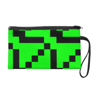 Small Black Squares on Lime Green Wristlet