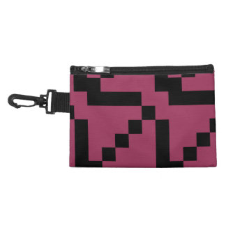 Small Black Squares on Sangria Pink Accessory Bag