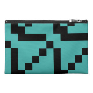 Small Black Squares on Verdigris Green Travel Accessory Bags