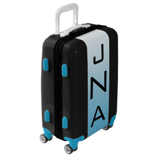 SMALL Black + White-Blue Ombre Monogram Carry On Luggage