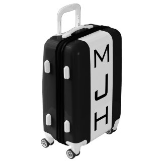 SMALL Black + White Monogrammed Carry On Luggage