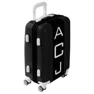 SMALL Black + White Personalized Monogram Carry On Luggage