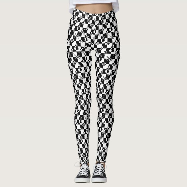 Small Black & White Vintage Halloween Disco Check Leggings