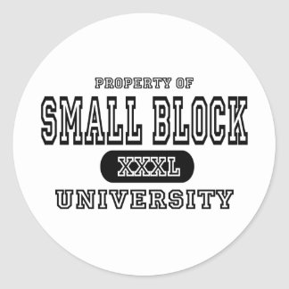 Small Block University Classic Round Sticker