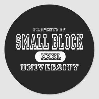 Small Block University Dark Classic Round Sticker