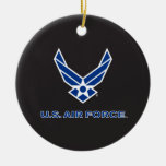 Small Blue Air Force Logo & Name Double-Sided Ceramic Round Christmas Ornament