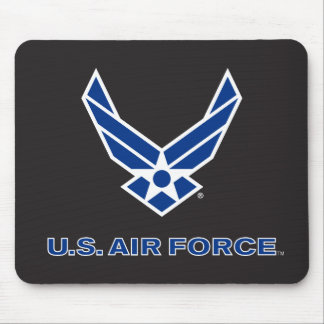 Small Blue Air Force Logo & Name Mouse Pad