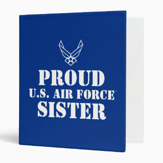 Small Blue Air Force Logo with Outline 3 Ring Binder