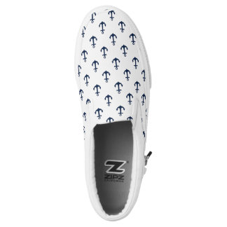 Small Blue Anchors Pattern Slip-On Sneakers