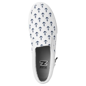heartlocked Small Blue Anchors Pattern Slip-On Sneakers
