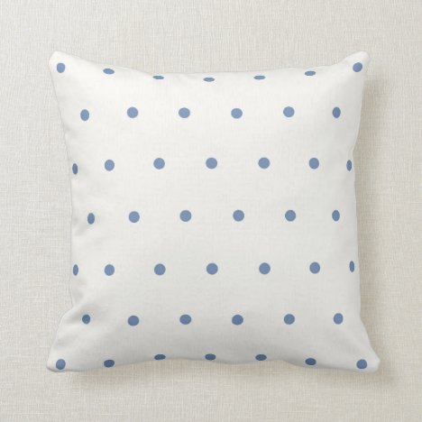 Small blue and white polka dots throw pillow