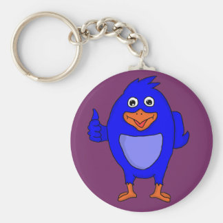 Small blue bird custom keyrings basic round button keychain