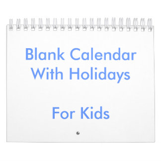 Small Blue Blank Calendar For Kids Holidays