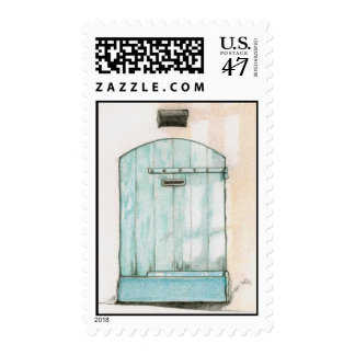 Small Blue Door Stamp