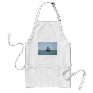 Small Blue Fishing Boat Adult Apron