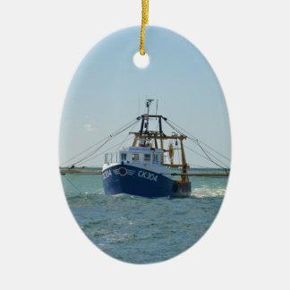 Small Blue Fishing Boat Ceramic Ornament