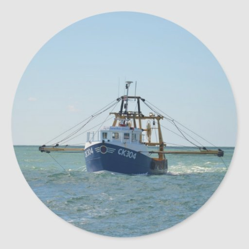 Small blue fishing boat classic round sticker zazzle for Round fishing boat