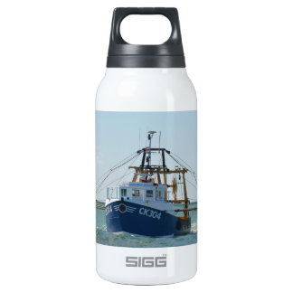 Small Blue Fishing Boat Insulated Water Bottle