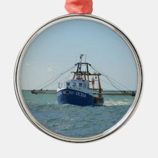 Small Blue Fishing Boat Metal Ornament