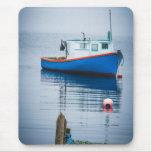 Small Blue Fishing Boat Mousepad