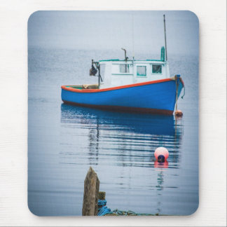 Small Blue Fishing Boat Mouse Pad