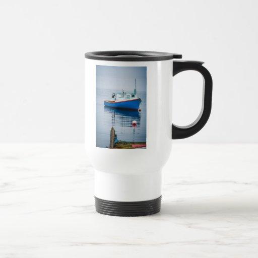 Small Blue Fishing Boat Mugs