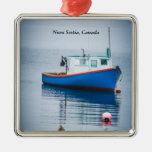 Small Blue Fishing Boat Square Metal Christmas Ornament