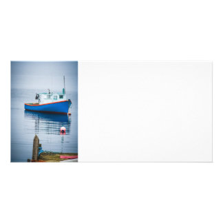 Small Blue Fishing Boat Personalized Photo Card
