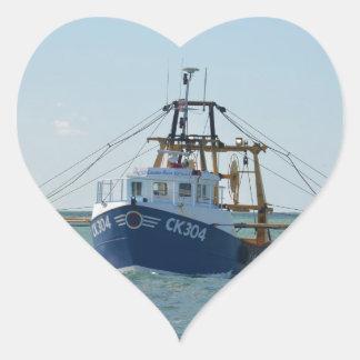 Small Blue Fishing Boat Heart Sticker