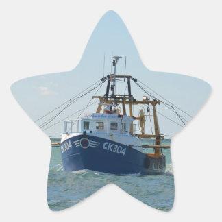 Small Blue Fishing Boat Star Sticker