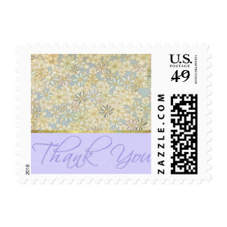 Small Blue Floral Thank you Postage Stamp
