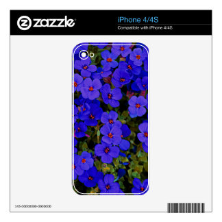 Small Blue Flowers Skin For iPhone 4