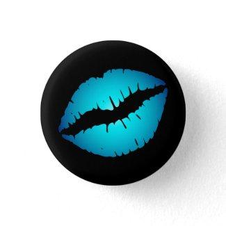 Small Blue Lips Button button