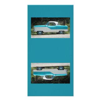 Small blue Metropolitian Nash cute classic car Card