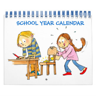 Small Blue School Year Calendar For Kids