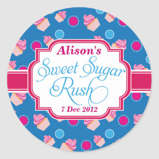 Small blue Sweet Sugar Rush Cute Cupcake Stickers