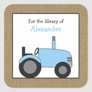 Small blue tractor library bookplate