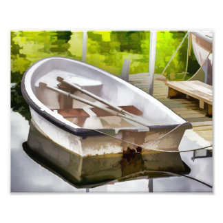 Small Boat Docked in Lagoon Photography Print