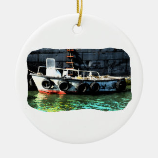 Small boat ladder tires in ocean by tug Double-Sided ceramic round christmas ornament