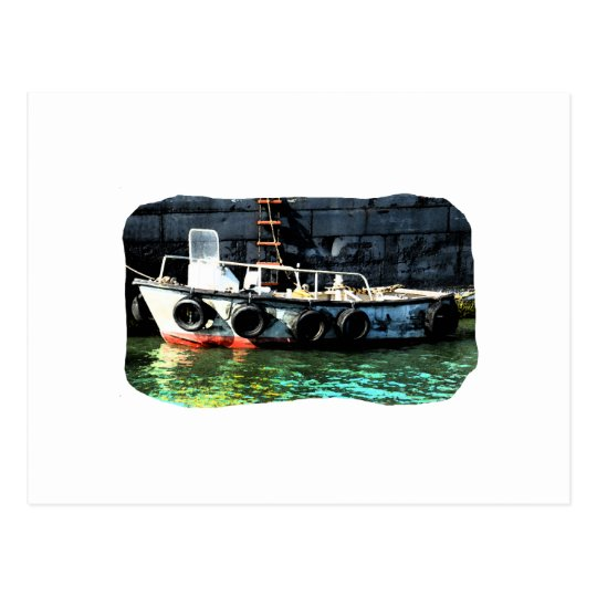 Small boat ladder tires in ocean by tug postcard