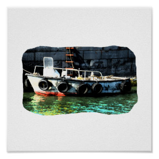 Small boat ladder tires in ocean by tug poster