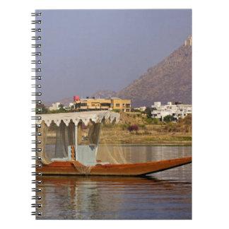 Small boat, Lake Pichola, Udaipur, India. Notebook
